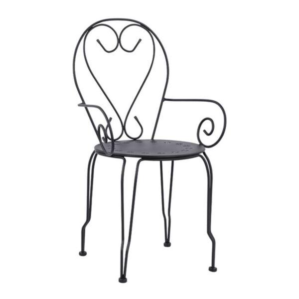 Метален стол с подлакътници Amore в черен цвят