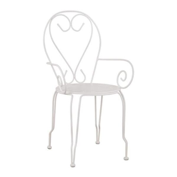 Метален стол с подлакътници Amore Бял