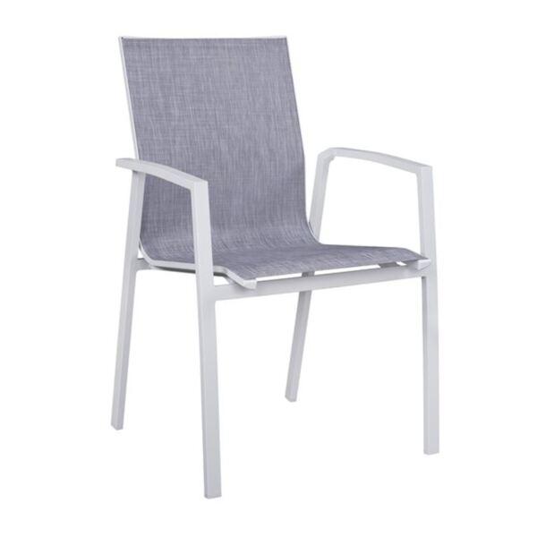 Алуминиево бяло кресло със сиво PVC
