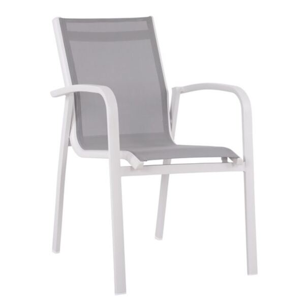 Алуминиево кресло Pro - Бяло със сиво PVC