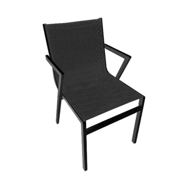 Алуминиево кресло - сиво с черен тескстил