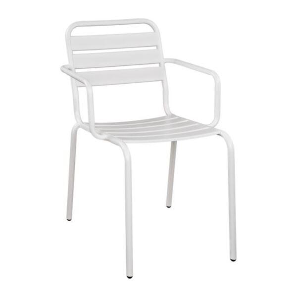 Метално кресло с бял цвят