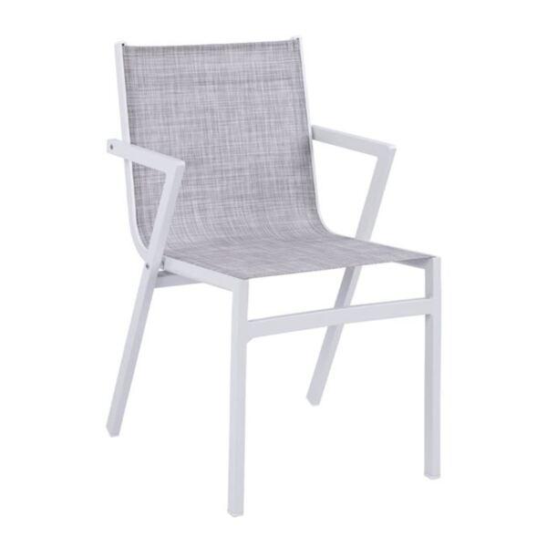 Алуминиево бяло кресло със сив текстил