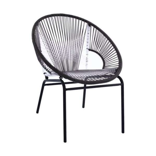 Метално кресло с ракита в Бяло / Сиво