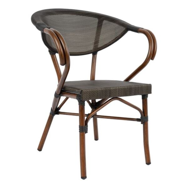 Алуминиево кресло Bamboo с кафяв текстил