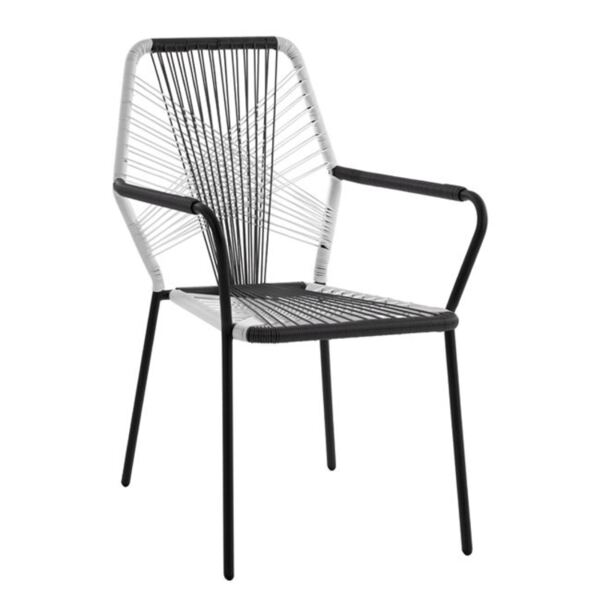 Метал кресло с ракита сиво/бяло