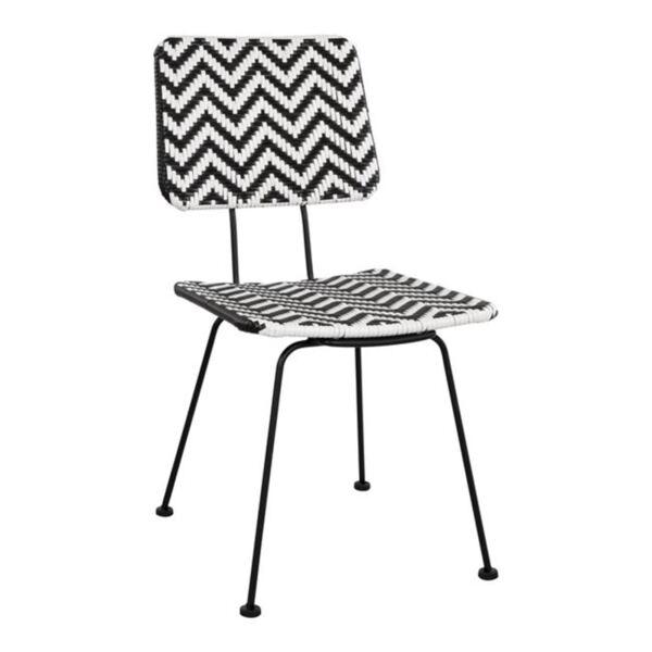 Метален стол Allegra с ракита Черно/бяло