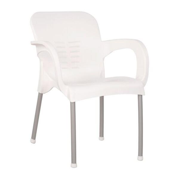Полипропиленов бял стол с алуалуминиеви крака