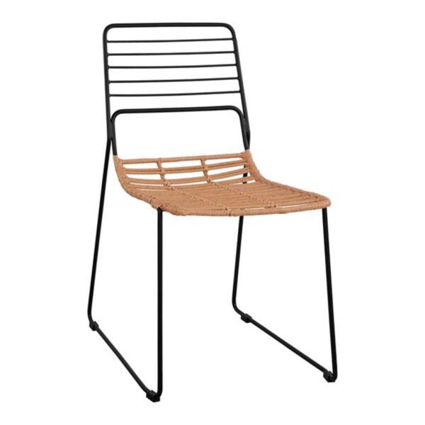 Метален стол Allegra с ракита бежово