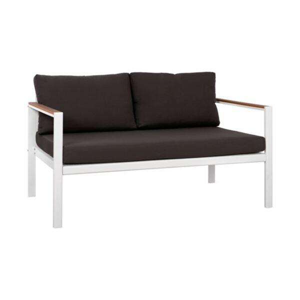 Двуместен бял диван