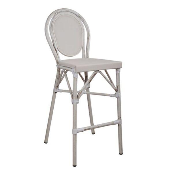 Бял алуминиев стол Bamboo с текстил