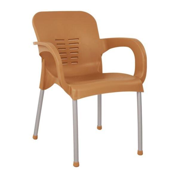 Полипропиленово кресло в дървесен цвят с алуминиев крак