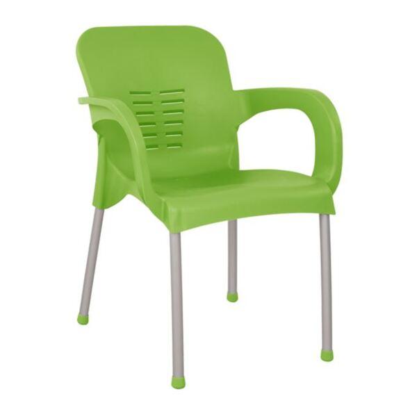 Полипропиленово кресло зелен цвят с алуминиев крак