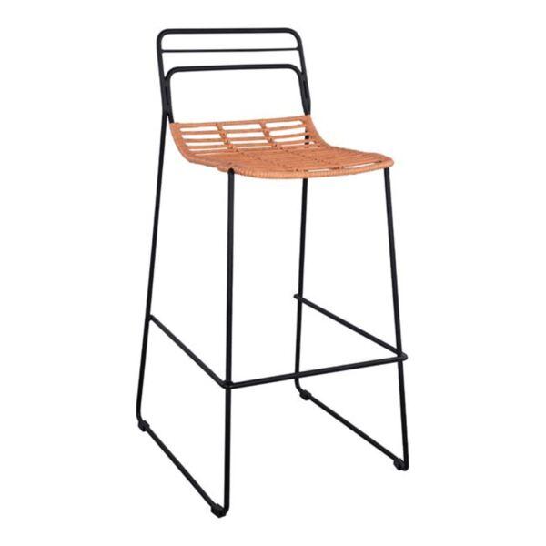 Метален стол Allegra с ракита в бежов цвят
