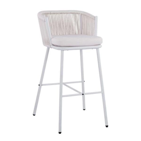 Стол с метална рамка и бяло въже