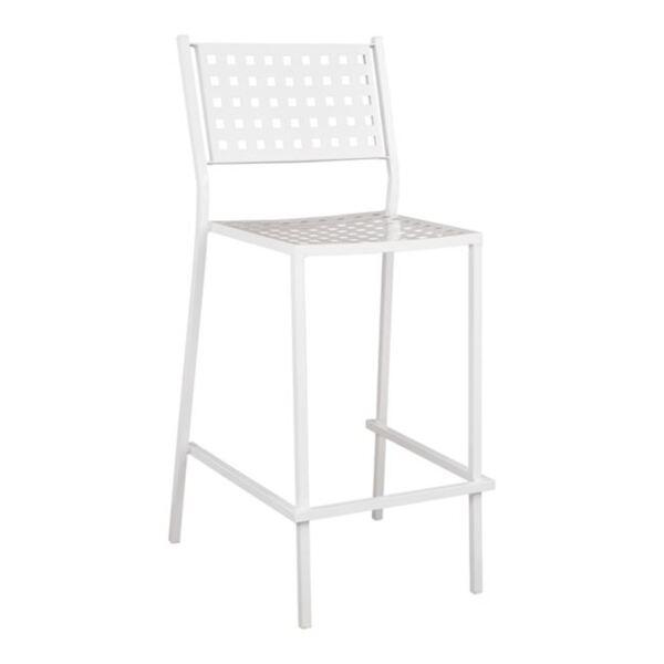 Метален бар стол Олимпия с бял цвят