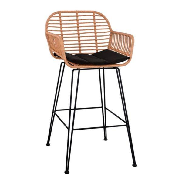 Метален стол с възглавница Allegra с ракита в бежов цвят
