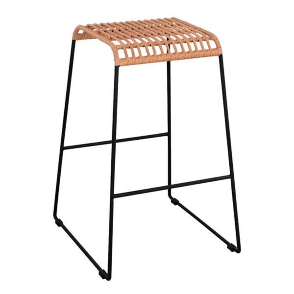 Метален стол Allegra с ракита в цвят бежов