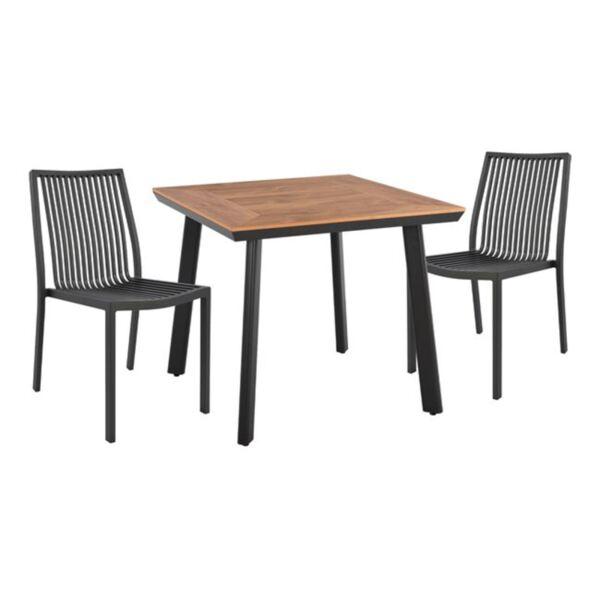 Алуминиев комплект маса и столове в сив цвят