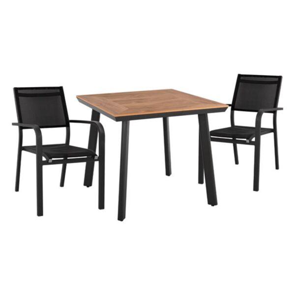 Комплект маса и кресла сив цвят