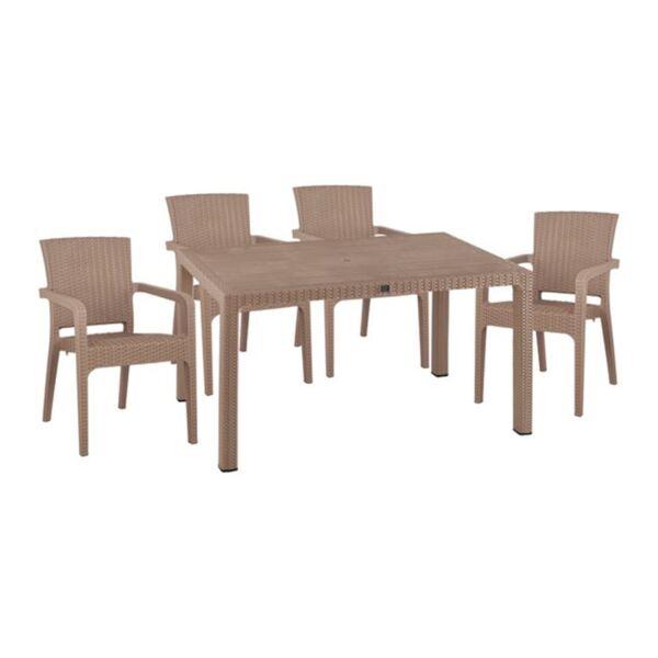Комплект маса и столове от ратан и полипропилен в капучино цвят
