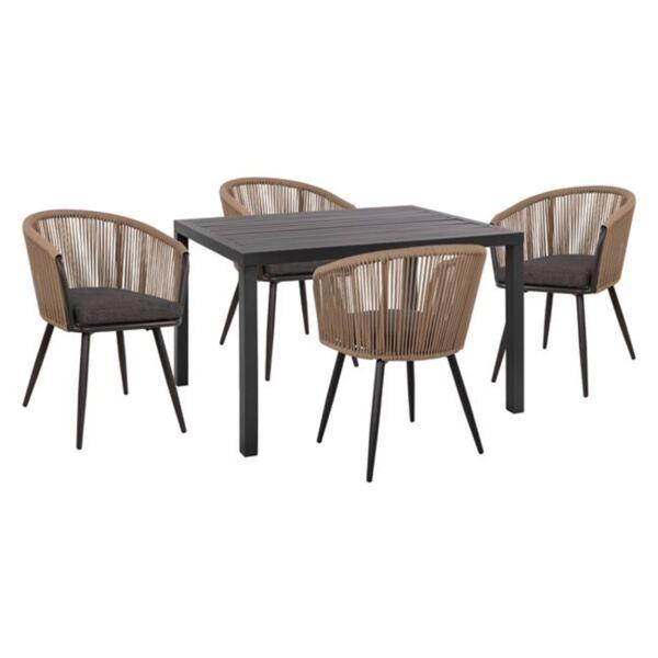 Комплект маса и кресла в сив цвят