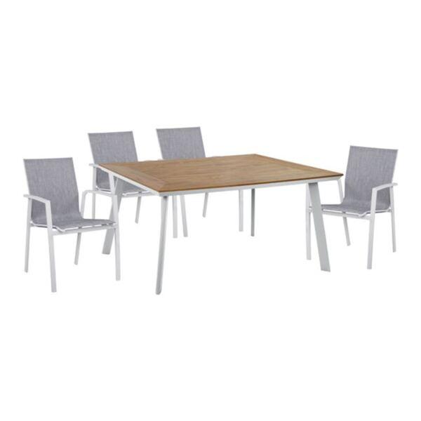 Алуминиев комплект маса и кресла в бяло