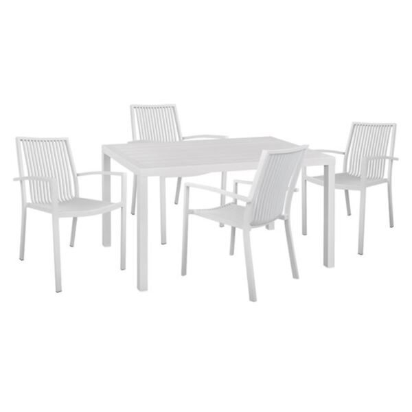 Комплект маса и алуалуминиеви столове с бял цвят