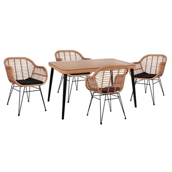 Комплект плетени столове Allegra с Маса бежово и черен