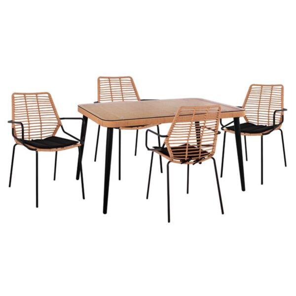 Комплект плетени столове Allegra с маса в бежов и в черен цвят