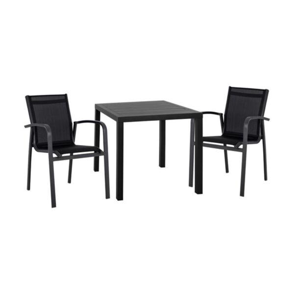 Алуминиев комплект маса и кресла сив