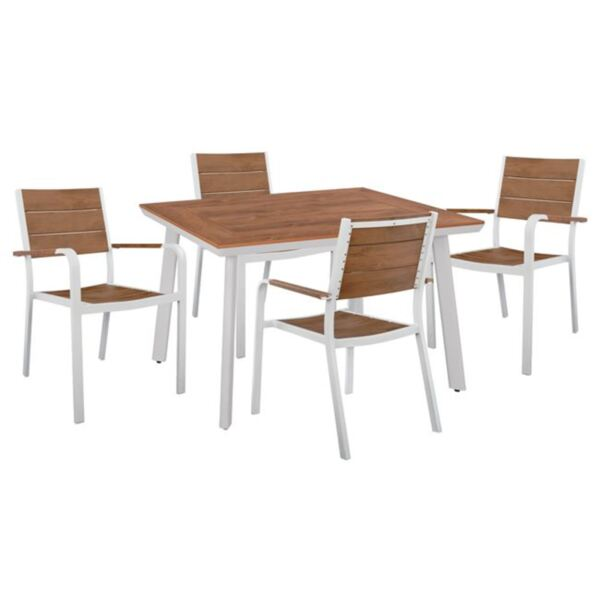 Комплект маса и фотьойли Полиууд бял цвят