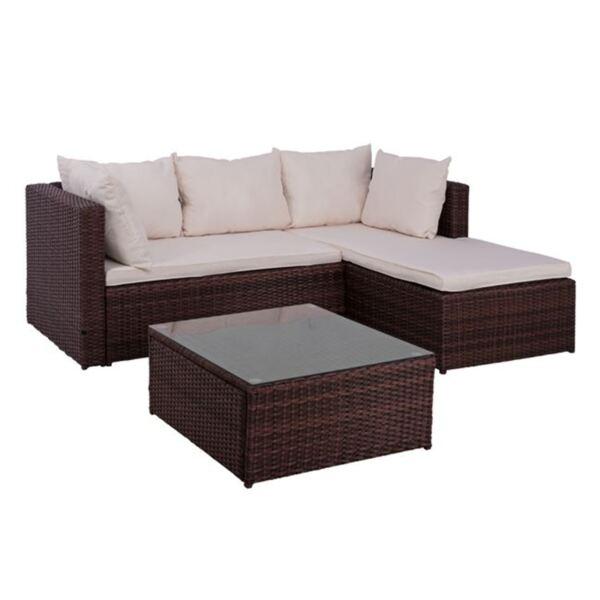 Ракитов ъглов диван в кафяв цвят