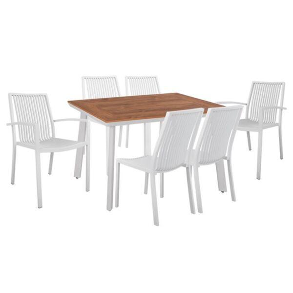 Комплект маса и алуминиеви столове с бял цвят