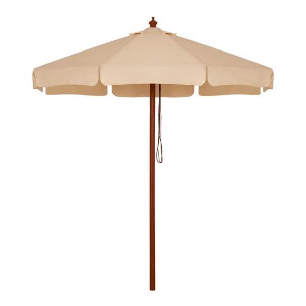 Плажен чадър с дървена конструкция в бежово/ф2,3м