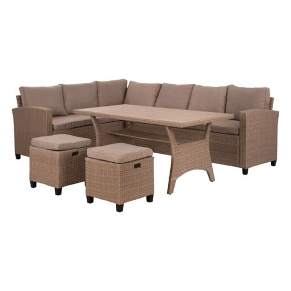 Комплект с ъглов диван + маса Полиууд+ табуретки