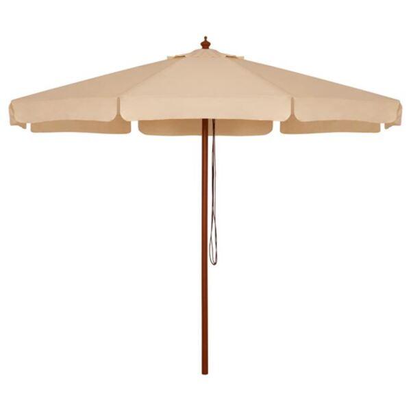 Плажен чадър с дървена конструкция бежово-3м
