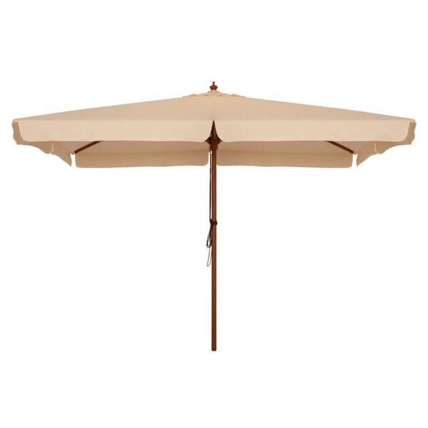 Плажен чадър с дървена конструкция бежово