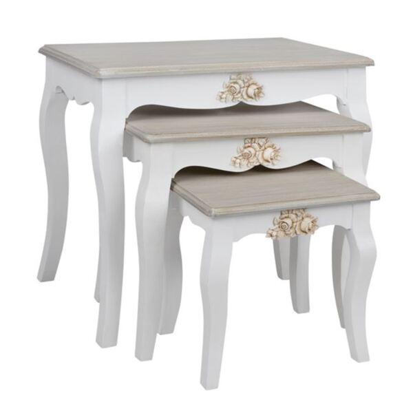 Дървена холна маса Melody бяло / сива