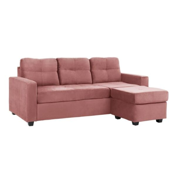 Ъглов кадифен диван в розов цвят