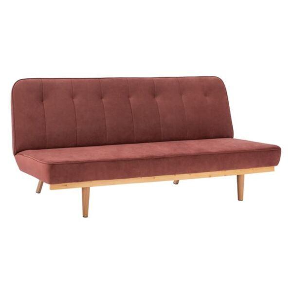 Разтегателен кадифен диван в розов цвят