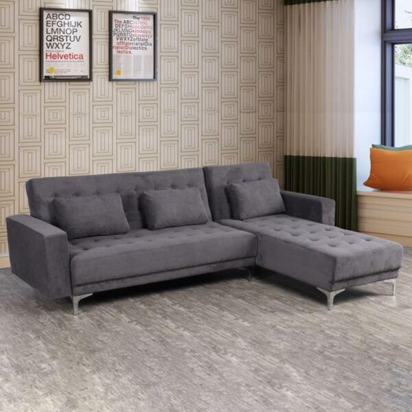 Ъглов разтегателен диван Eliza Тъмно сив цвят