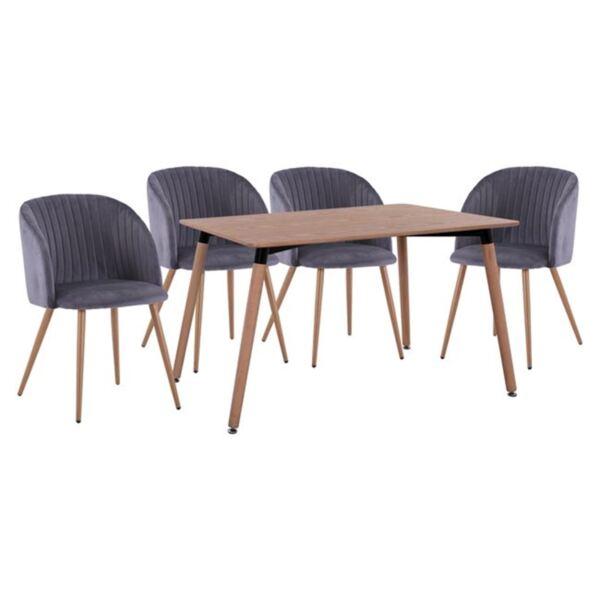 Комплект маса и кресла сиво кадифе