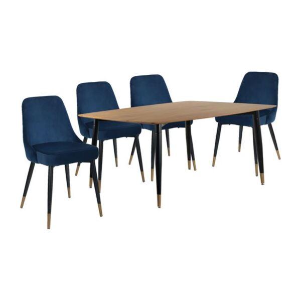 Комплект за хранене - маса и столове в синьо кадифе