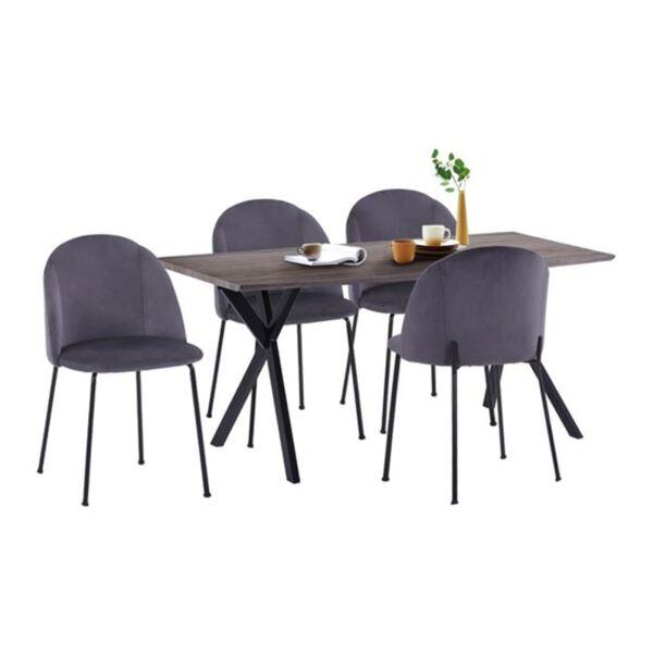 Комплект за хранене - Маса МДФ и столове Клара сиво кадифе