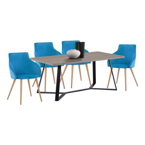 Комплект за хранене - Маса Aldwin МДФ и столове Ivy кадифе