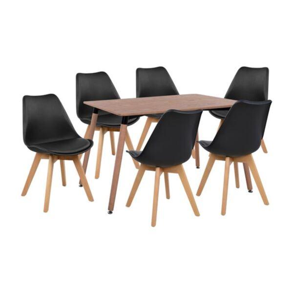 Комплект маса и столове Вегас в черен цвят