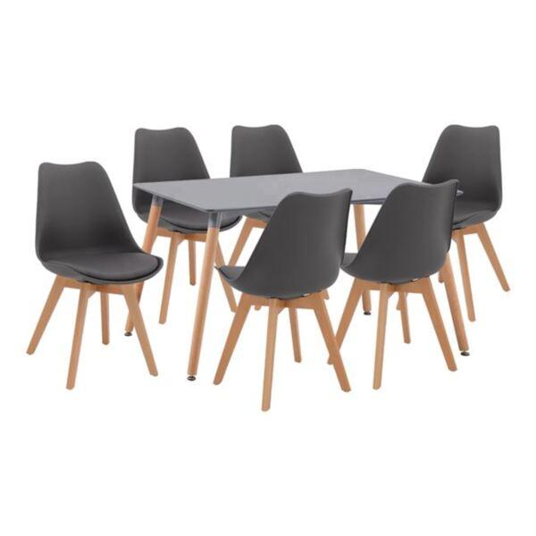 Комплект Маса Minimal и столове Вегас в тъмно сив цвят