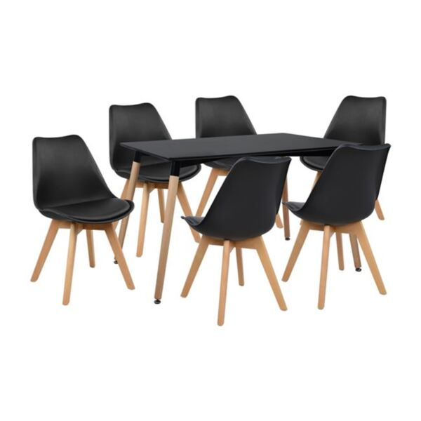 Комплект маса Minimal и столове Вегас в черен цвят