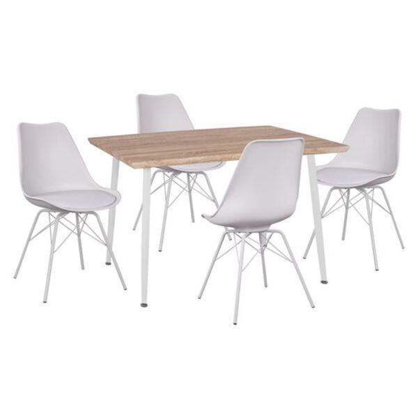 Комплект Маса цвят сонама и Столове Вегас бял цвят с метални крака